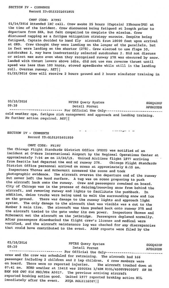 Selections from FAA documents regarding Flight 1977