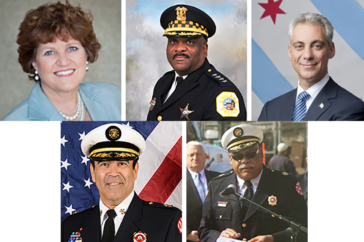 Top 5 base salaries in Chicago departments, from top left: Ginger Evans, Eddie Johnson, Rahm Emanuel, Jose Santiago and Richard Ford II